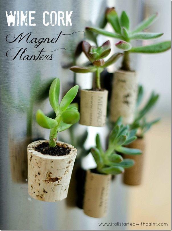 DIY wine cork magnet planters