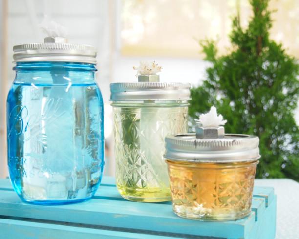 5 Mason Jar Oil Lamps - diy Thought on diy ladybug, diy bat, diy bee, diy bug, diy frog, diy owl, diy lion, diy horse,