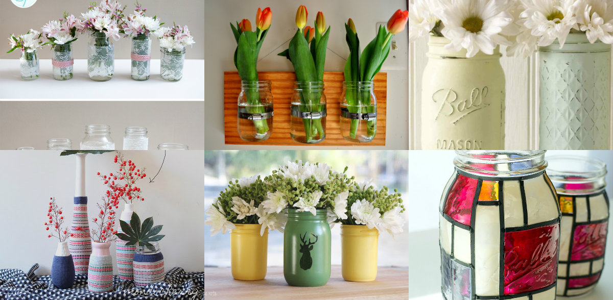 7 Diy Mason Jar Vases Diy Thought
