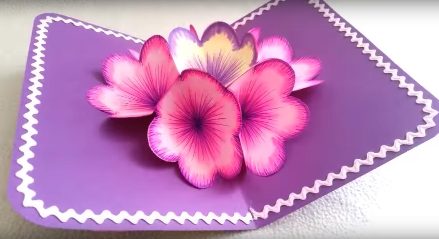 Сделать 3 д открытку своими руками цветы