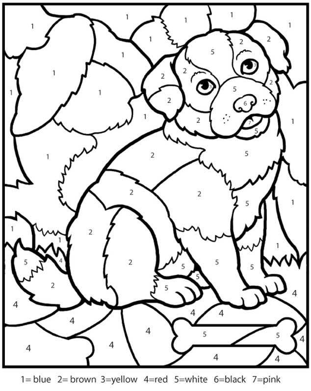 1 color by numbers - Free Dog Coloring Pages
