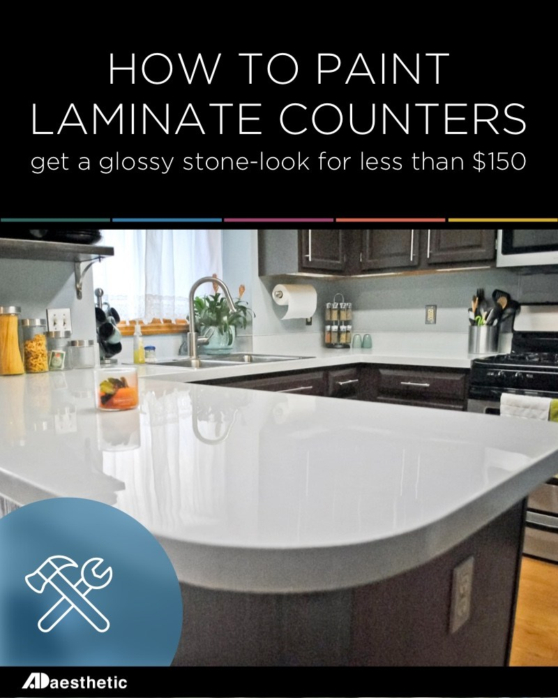 This Old Laminate Countertop Has Been Painted With A Variety Of Different  Colors, Sprinkled With Glitter And Sealed With A High Gloss Resin.