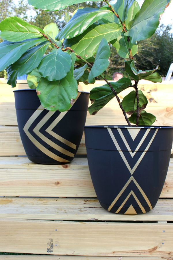 Tape And Paint Flower Pot