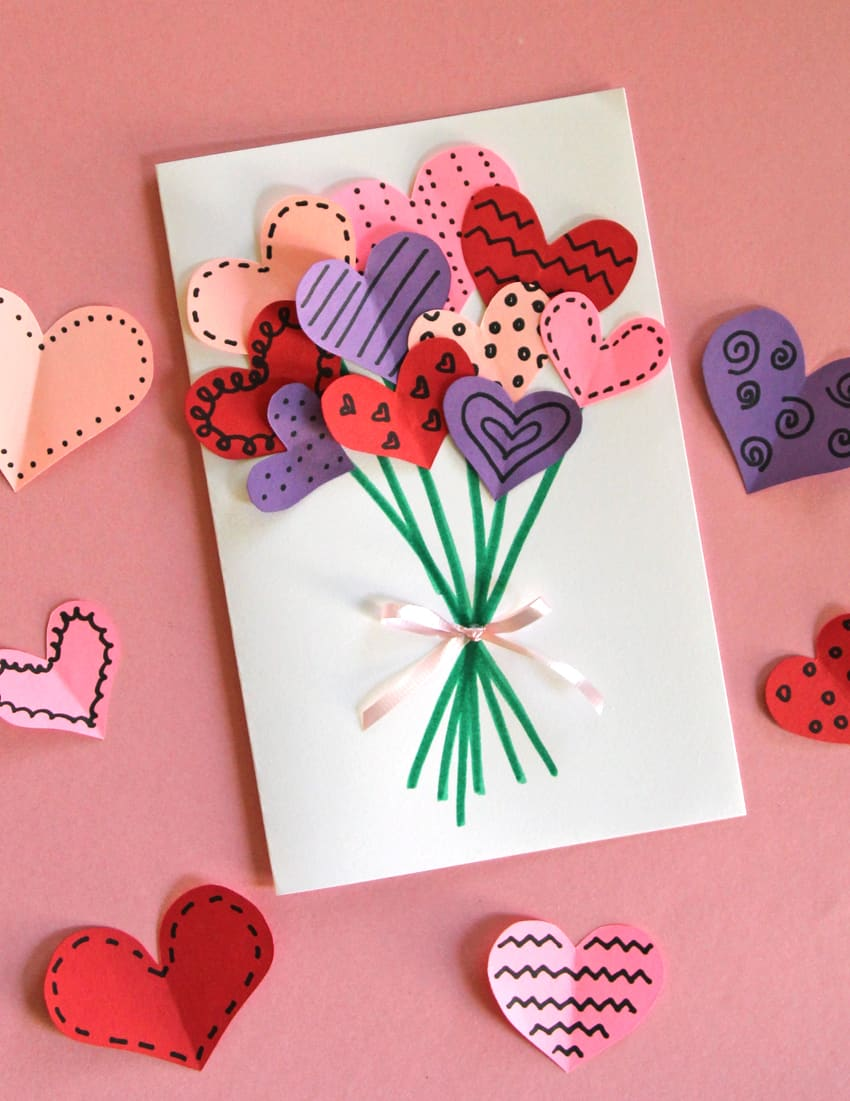 6 diy cute valentines kids cards diy thought bouquet of hearts card kristyandbryce Choice Image