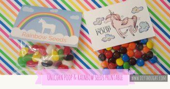 Rainbow Seeds & Unicorn Poop Party Favor Printable