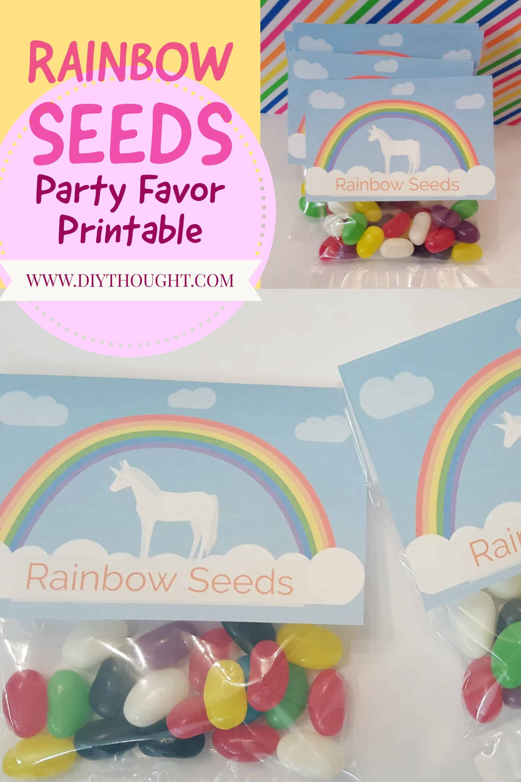 Rainbow Seeds & Unicorn Poop Party Favor Printable - diy Thought