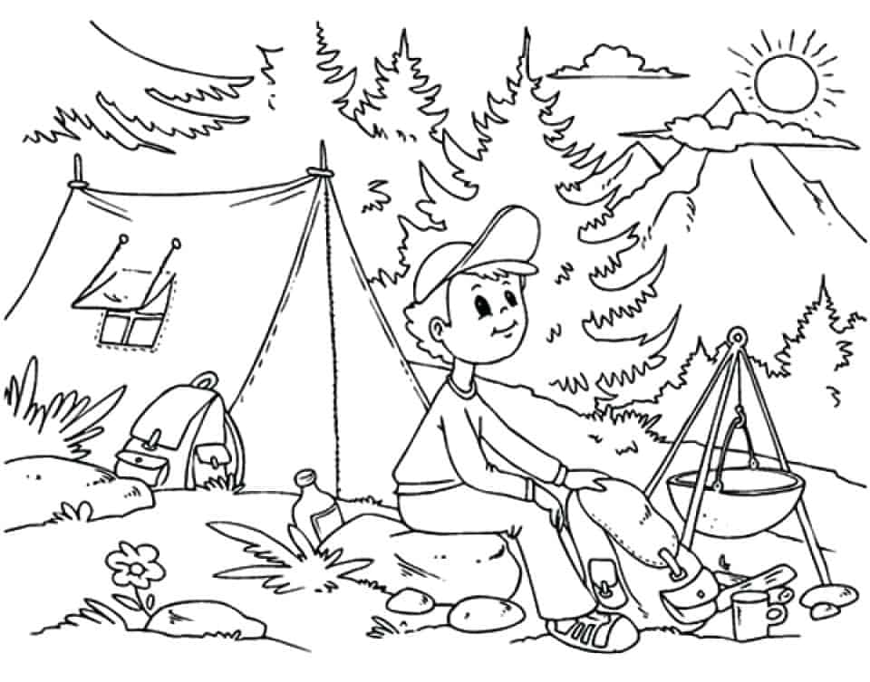 It's just a picture of Playful Free Printable Camping Coloring Pages