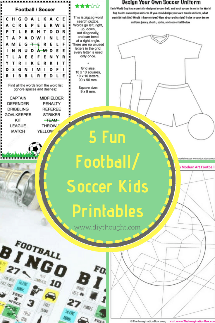 5 Fun Football/ Soccer Kids Printables - diy Thought