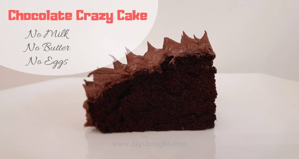 Chocolate Crazy Cake- Egg Free & Dairy Free