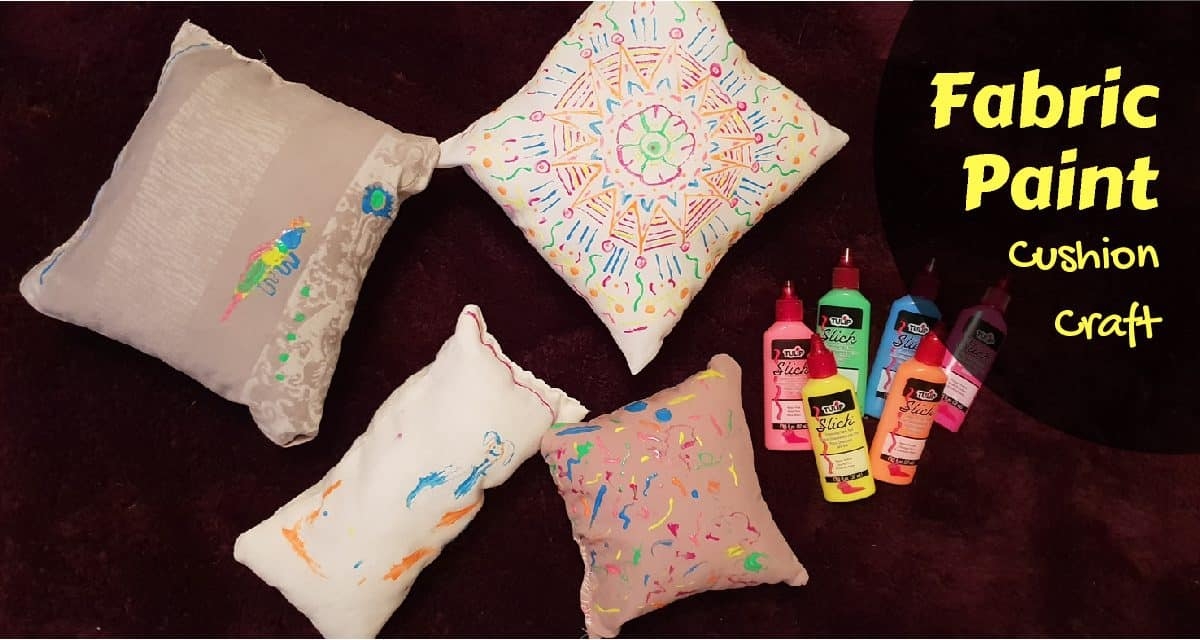 Fabric Paint Cushion Craft- Upcycled pillowcases
