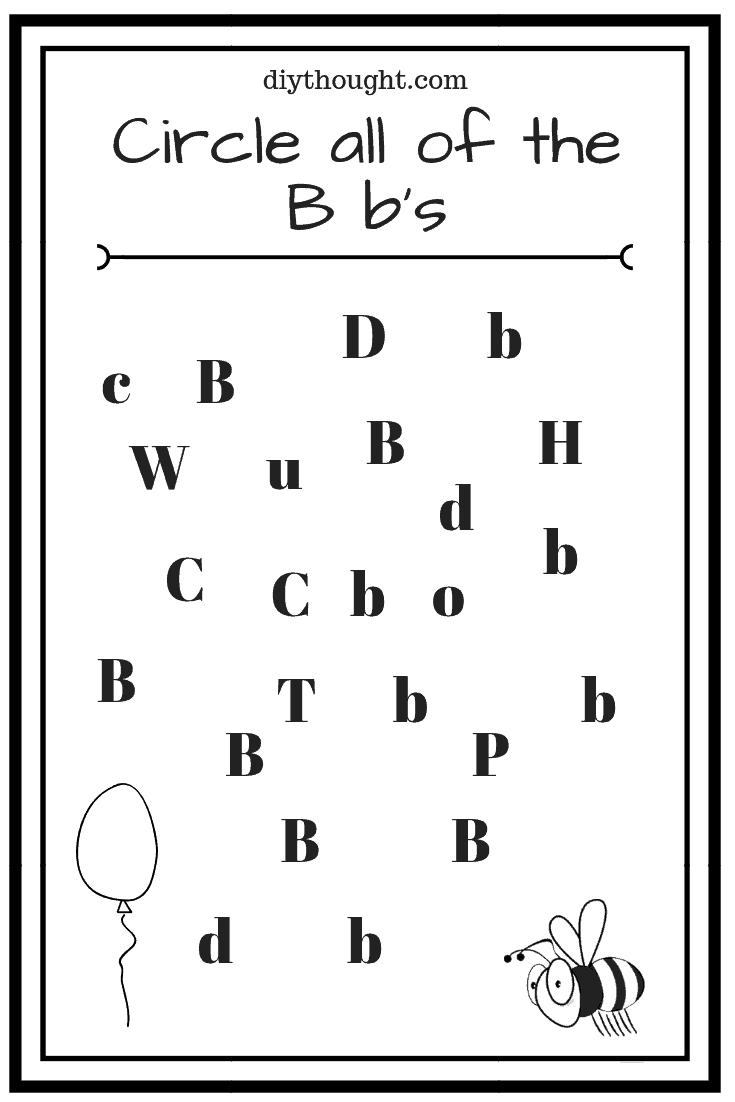 5 Letter B Preschool Printables   diy Thought