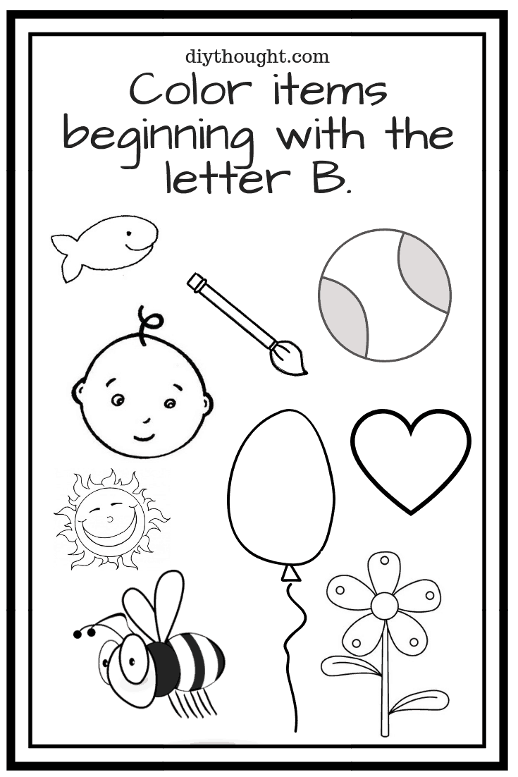Color items beginning with the letter B. - Free Printables For Kindergarten