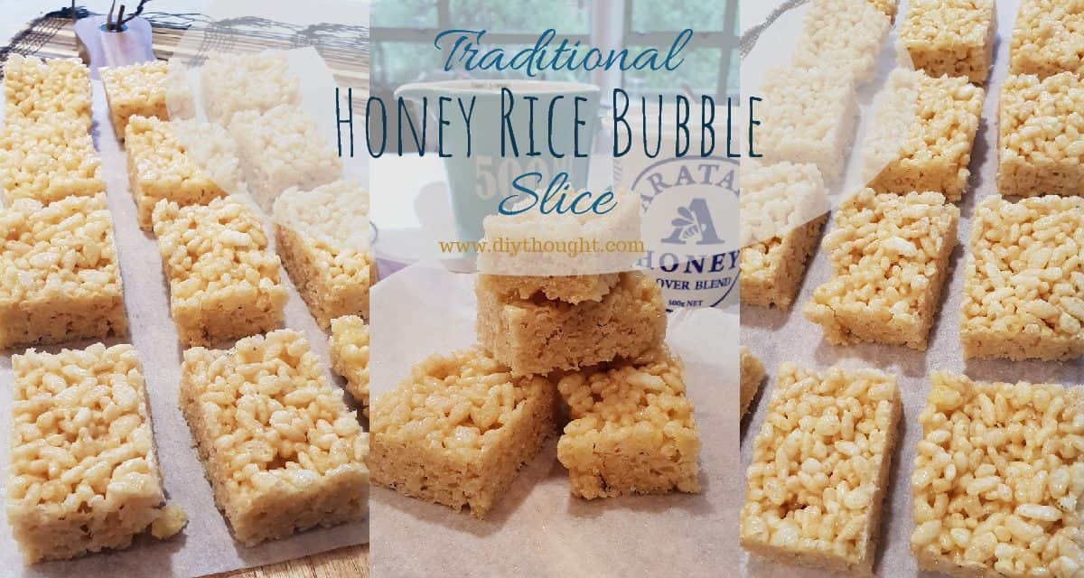 Traditional Honey Rice Bubble Slice
