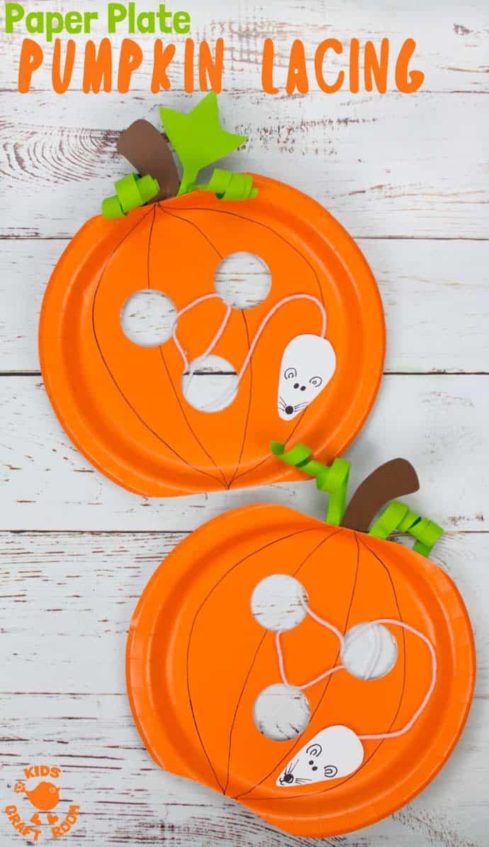 paper plate pumpkin lacing craft