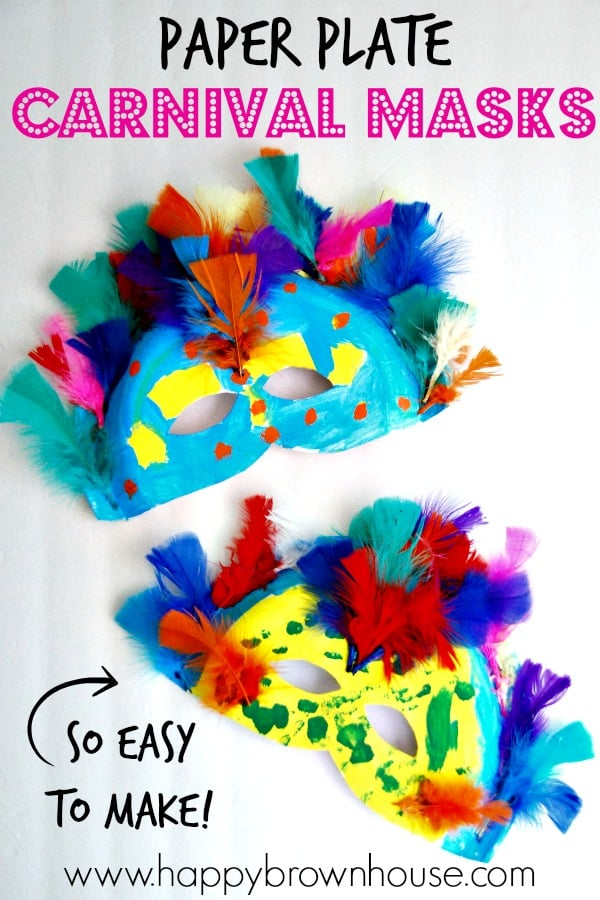 paper plate carnival feather masks
