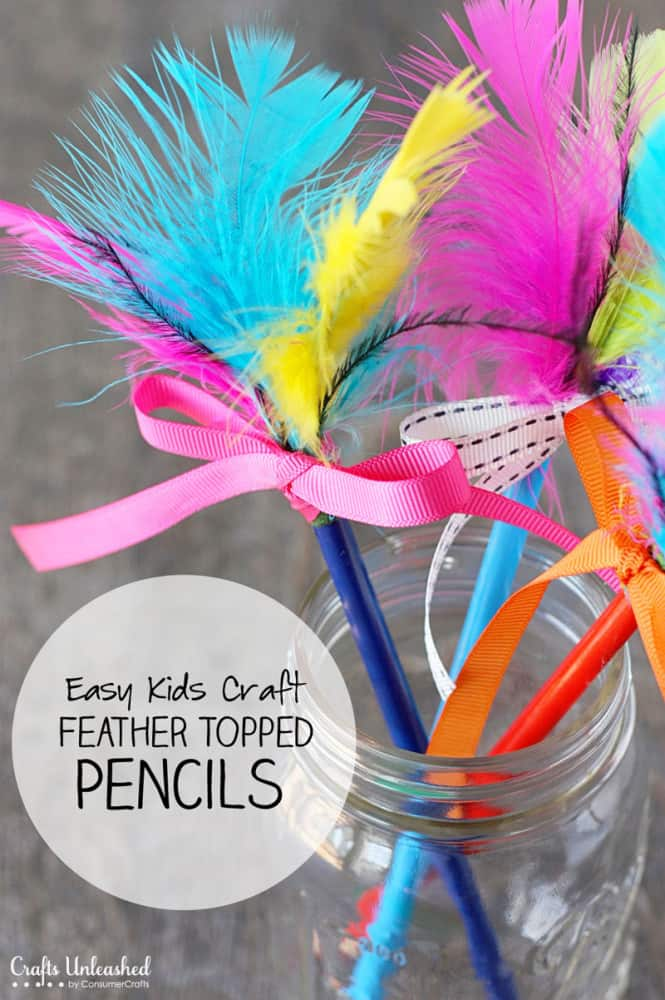 feather topped pencil craft