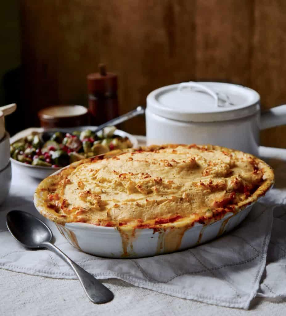 Chicken pot pie with potato top