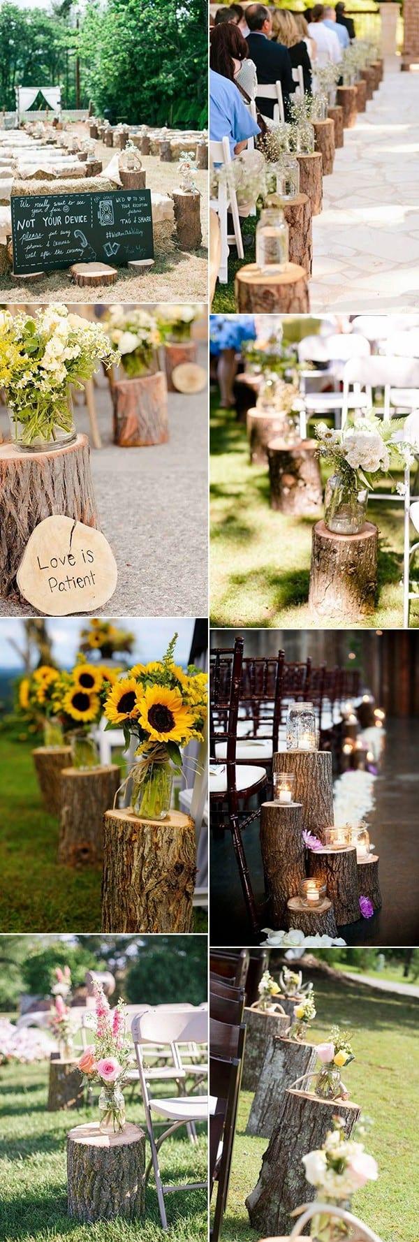 tree stump rustic country wedding idea