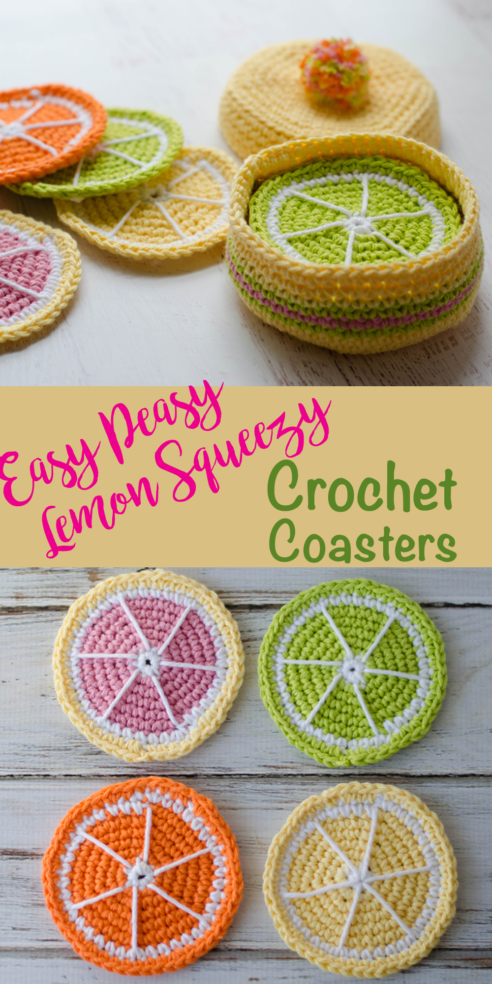 Fruit crochet coaster pattern