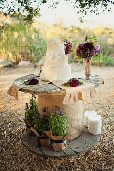 wooden reel wedding decor