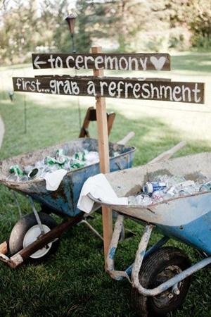 wedding drinks wheelbarrow