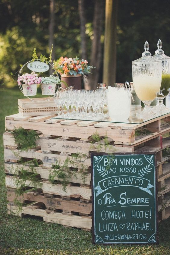 rustic wedding drinks station