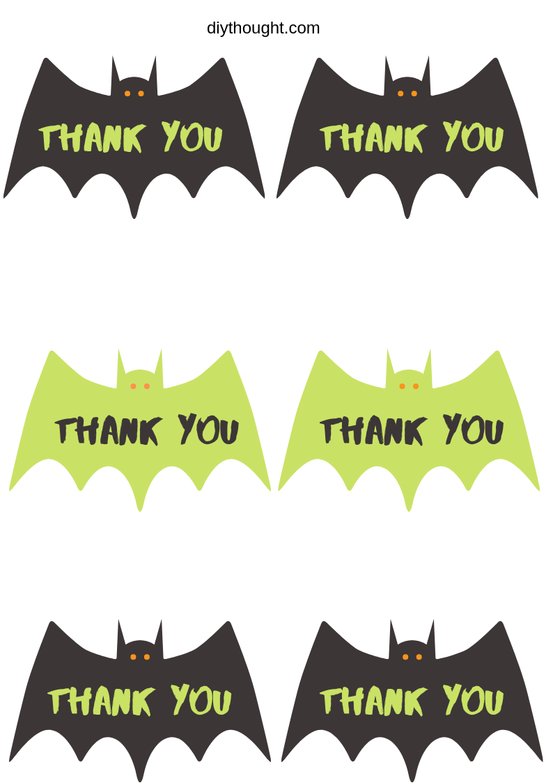 Thank You Bats Free Printable