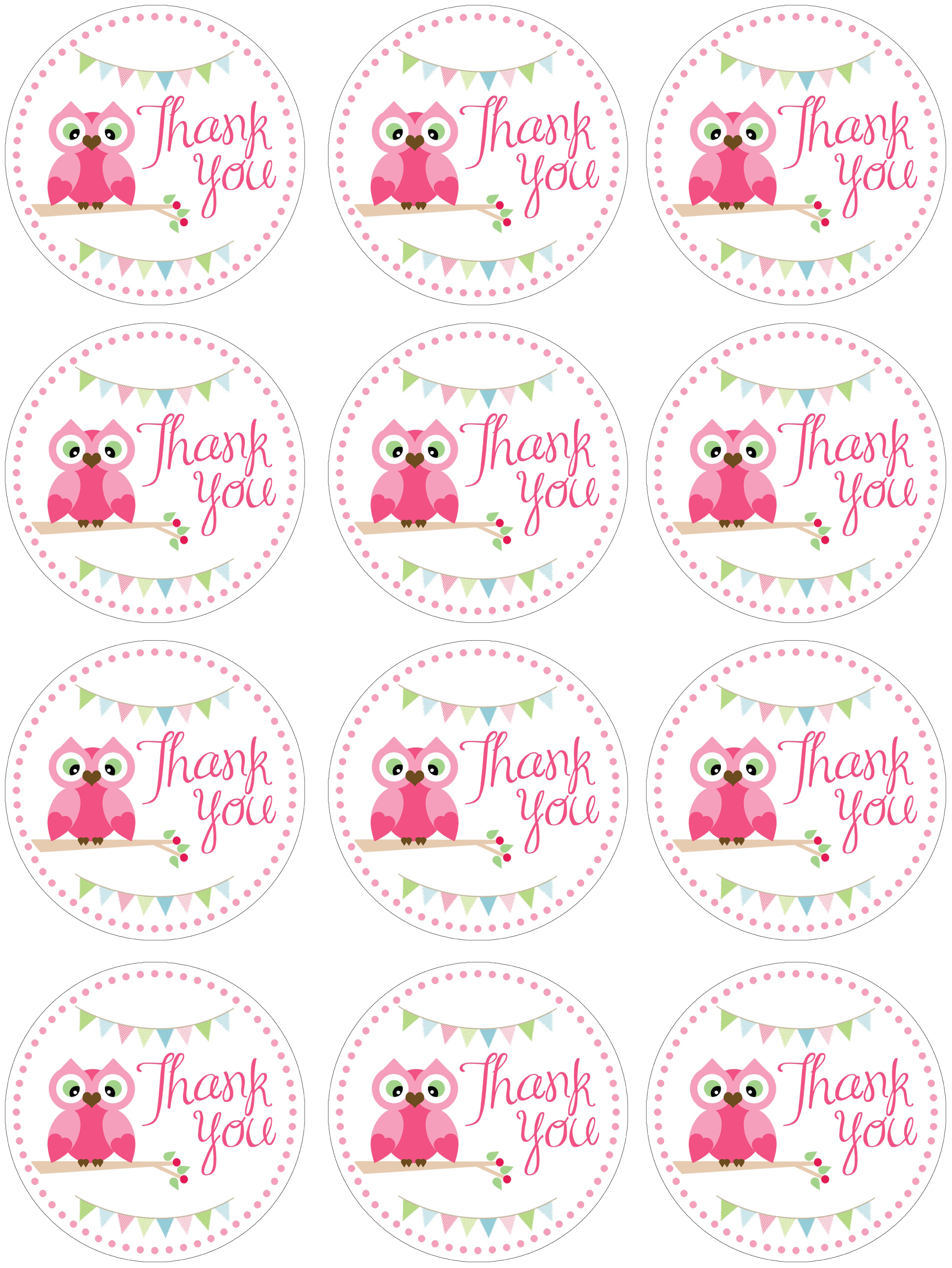 owl birthday favor tags free
