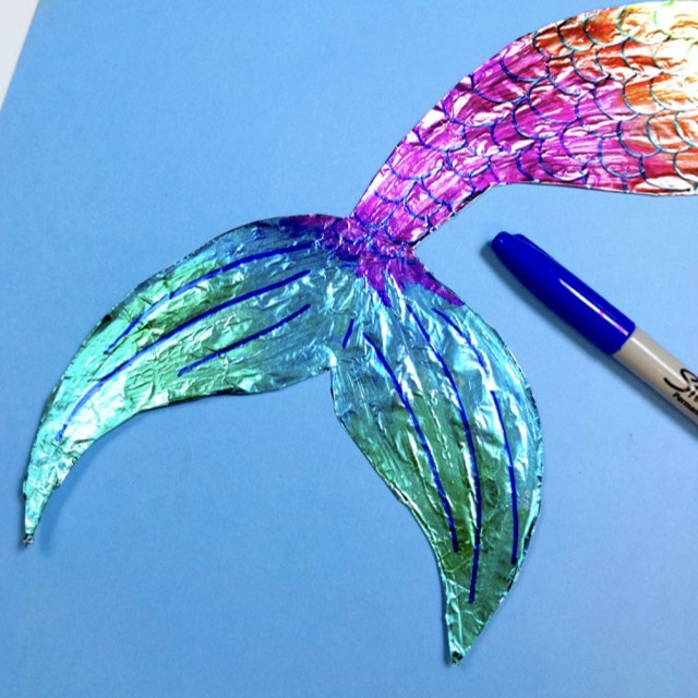 foil mermaid tail craft