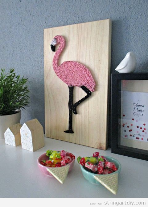 flamingo string art