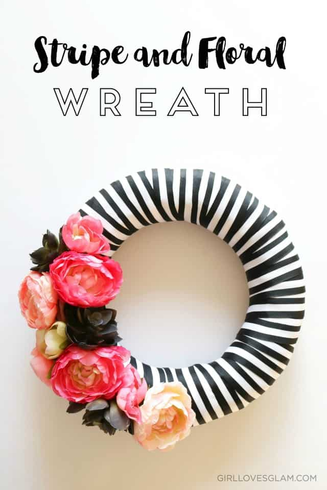 Stripe and floral wreath tutorial