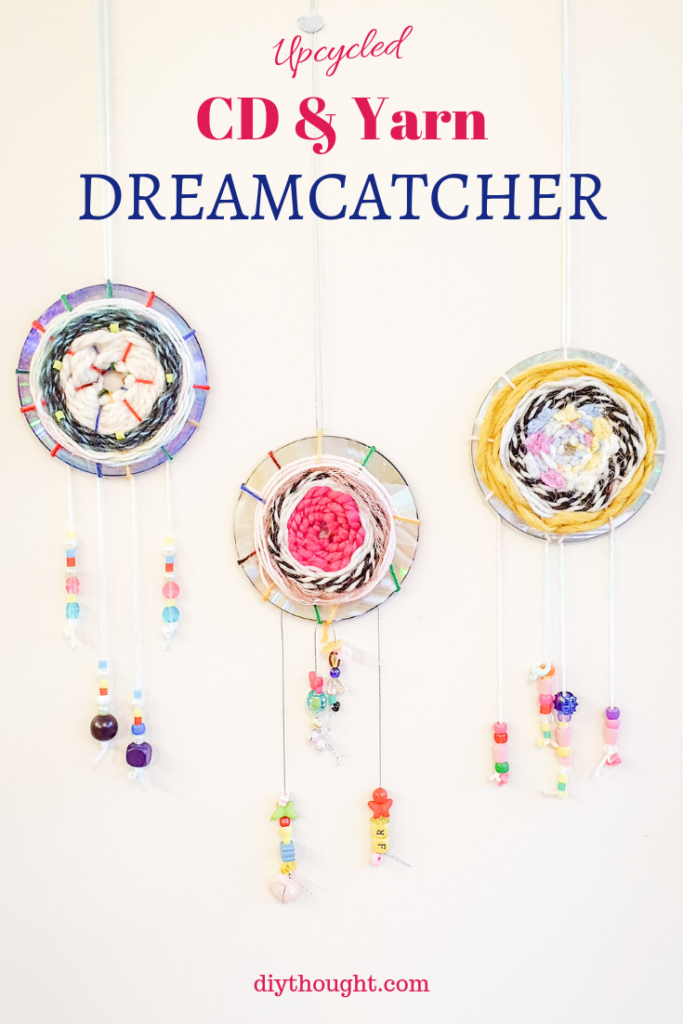 upcycled CD & yarn dreamcatcher