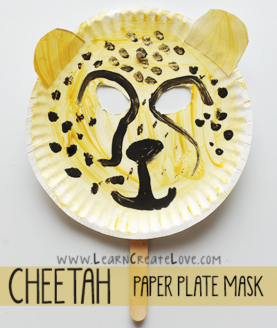 cheetah paper plate face mask
