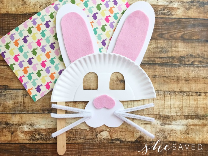 bunny paper plate face mask craft