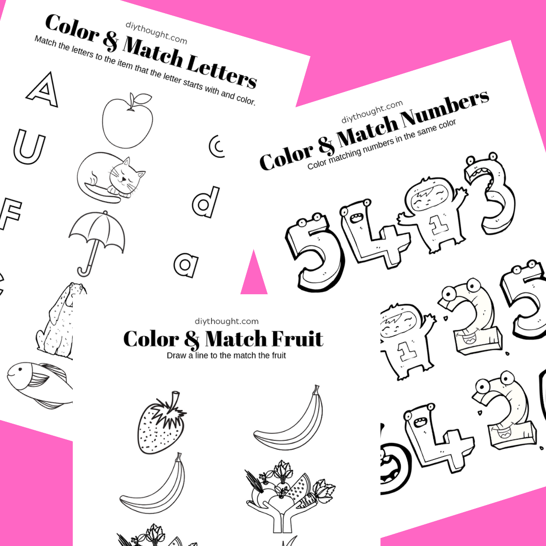 - 5 Free Color & Match Printable Worksheets - Diy Thought