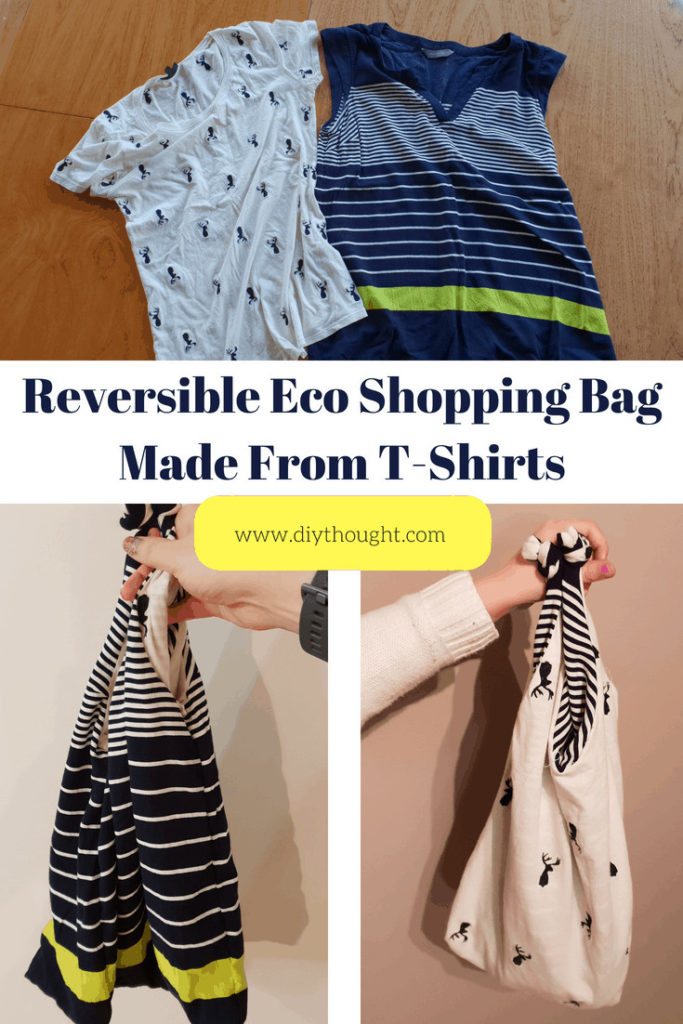 DIY shopping bag made from t-shirts