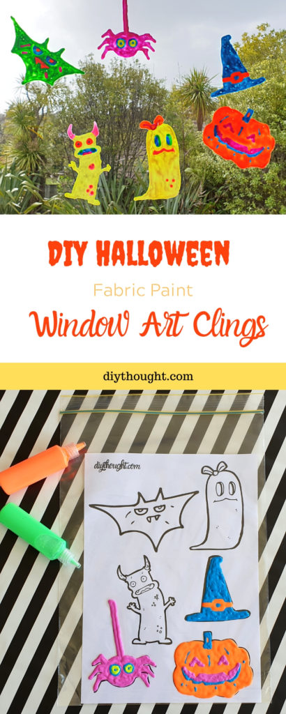 DIY Halloween fabric paint window art clings