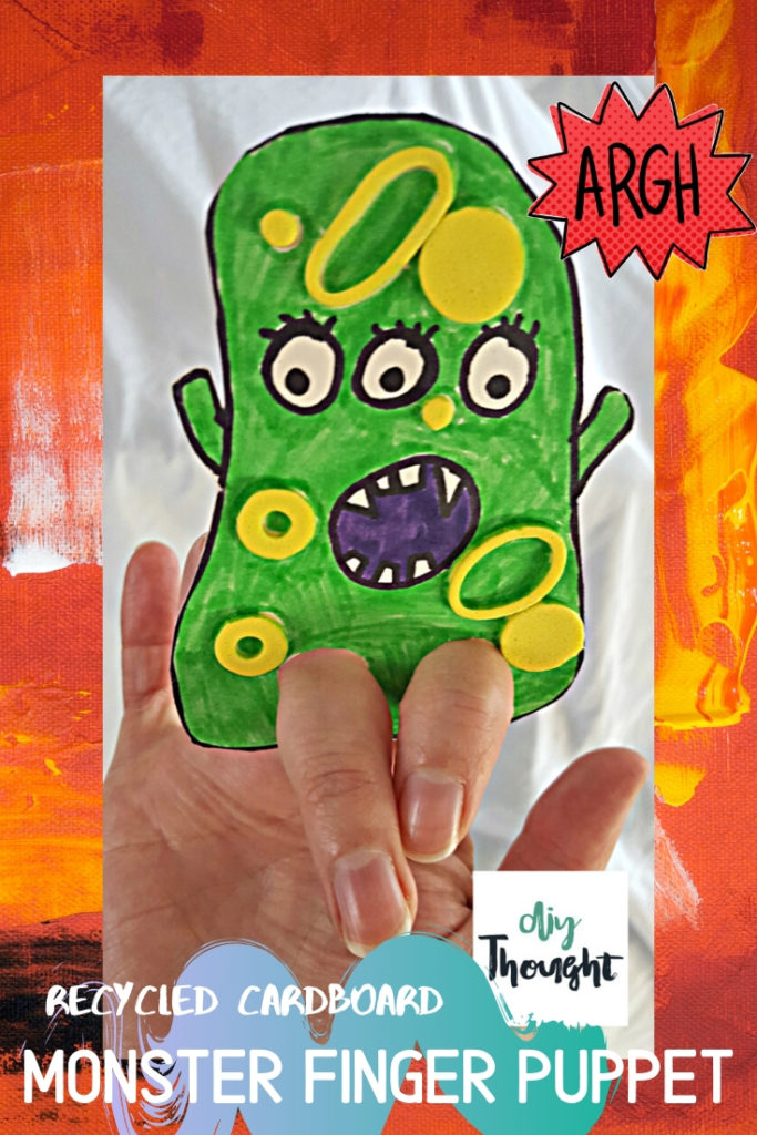 recycled cardboard monster finger puppet