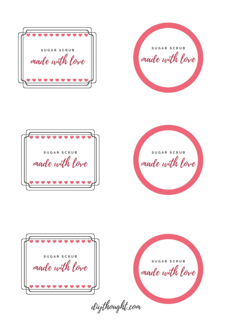 sugar scrub printable label