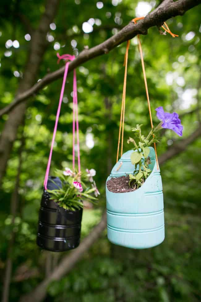 hanging recycled plant pot