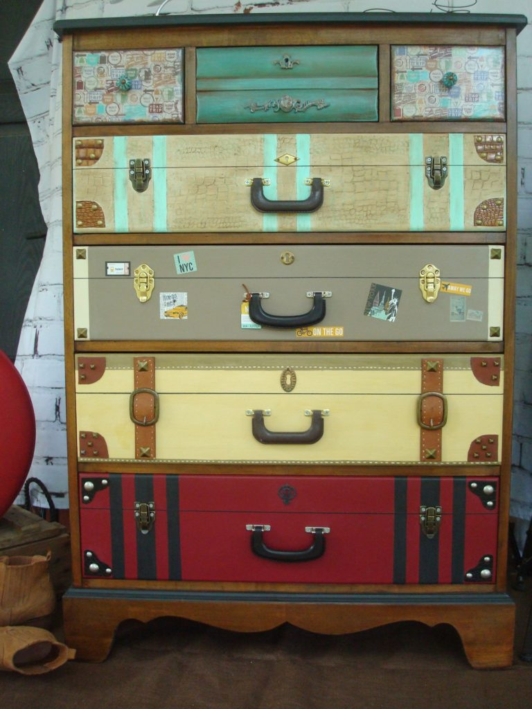 Upcycled faux suitcase drawers