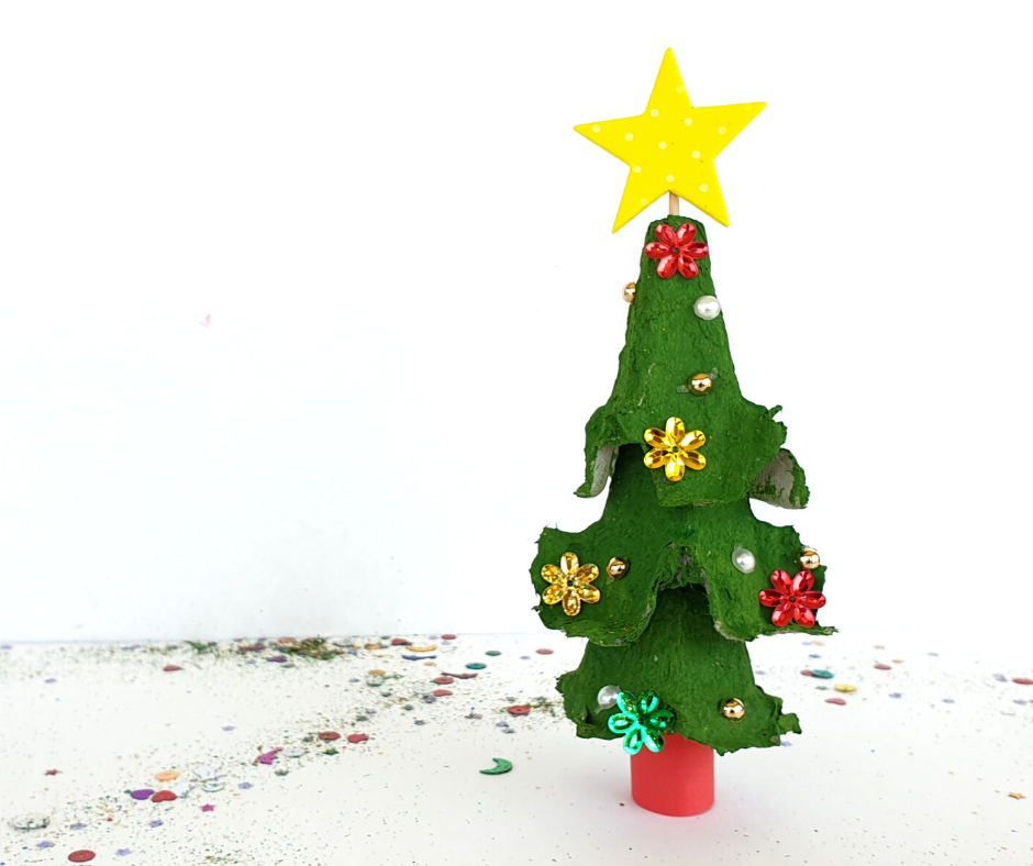 egg carton christmas tree