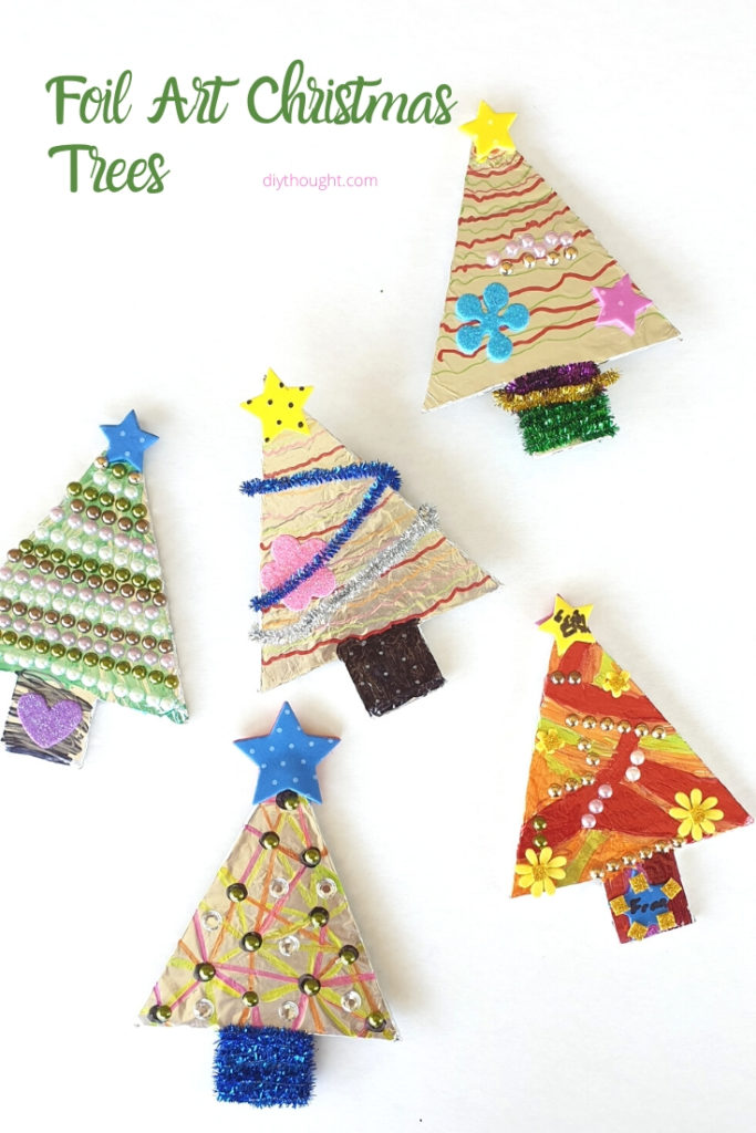 foil art christmas trees