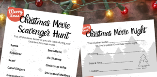 christmas movie night free printables