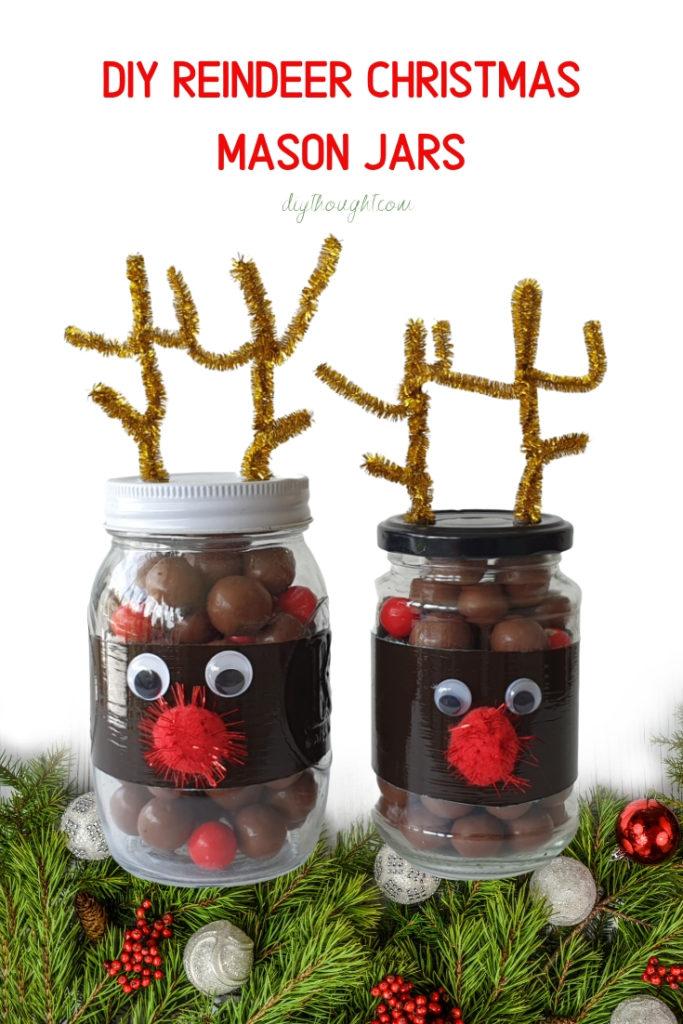 DIY Reindeer Christmas Mason Jars