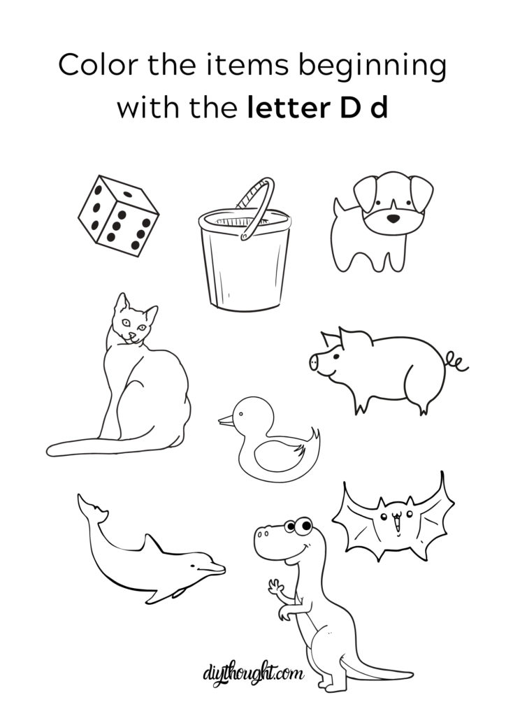 color the items starting with letter d