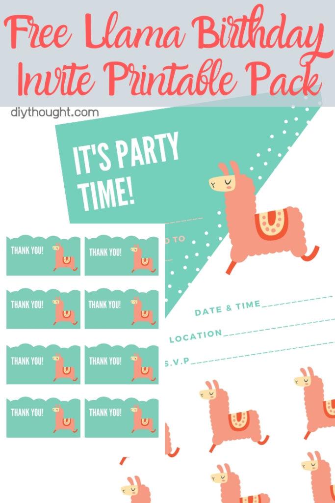 free llama birthday invite printable pack