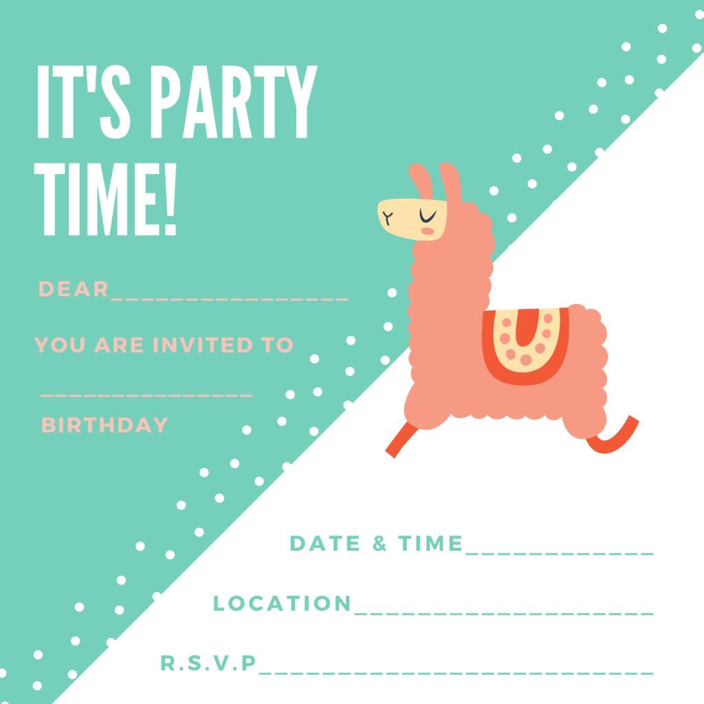 free printable llama birthday invite