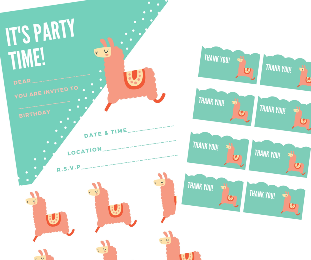 llama birthday invite pack
