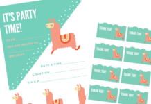 llama birthday invite pack